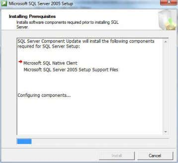 A dialog shows the progress on installing the prerequisites. 4 System Configuration Check a. Wait while