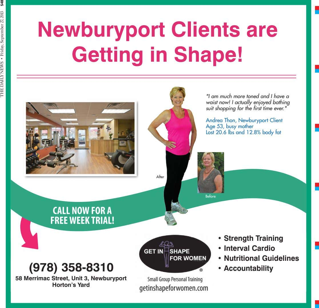 "Newburyport Clients are Getting in Shape! ""I am much more toned and I have a"
