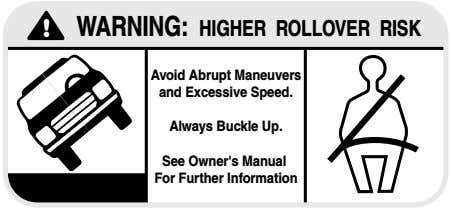 ! WARNING: HIGHER ROLLOVER RISK Avoid Abrupt Maneuvers and Excessive Speed. Always Buckle Up. See