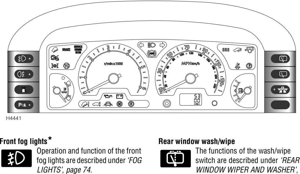 P H4441 Front fog lights* Operation and function of the front fog lights are described