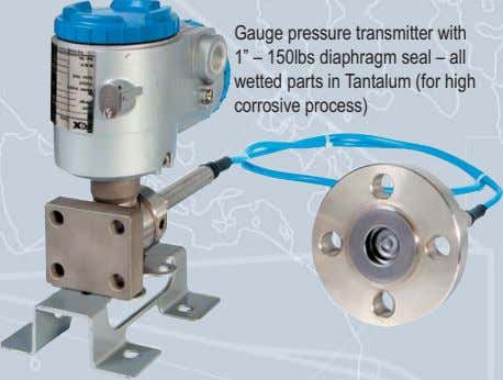 "Gauge pressure transmitter with 1"" – 150lbs diaphragm seal – all wetted parts in Tantalum"