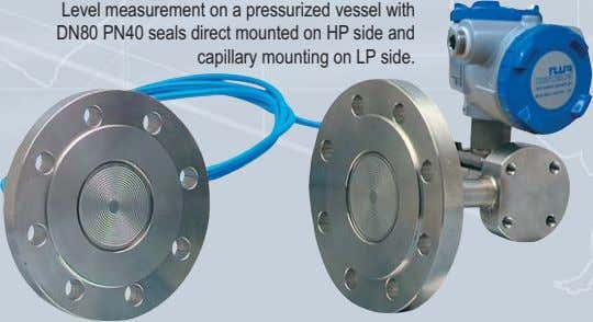 Level measurement on a pressurized vessel with DN80 PN40 seals direct mounted on HP side