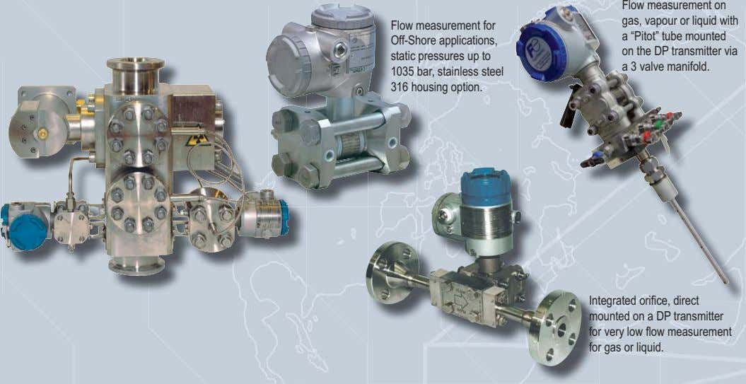 Flow measurement on gas, vapour or liquid with Flow measurement for Off-Shore applications, static pressures