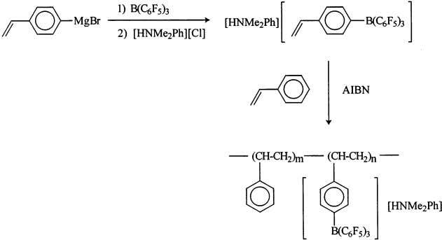 which is active in ethylene polymerization (Fig. 24) [89]. Fig. 23. Preparation of polymer-bound borate activator.