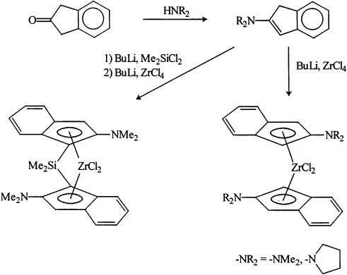 example the 2-pyridyl complex 2 [23] and the 2,7-diethy- Fig. 9. Preparation of 2-amino substituted bis(indenyl)