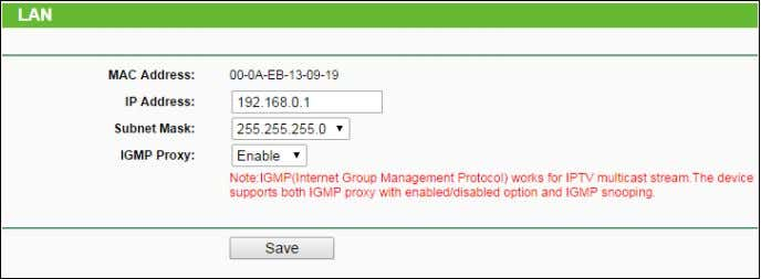 the IP parameters of the LAN on the screen as below. Figure 4-15 LAN  MAC