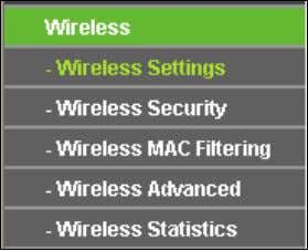 not take effect until they are re-configured. 4.6 Wireless Figure 4-16 Wireless menu There are five