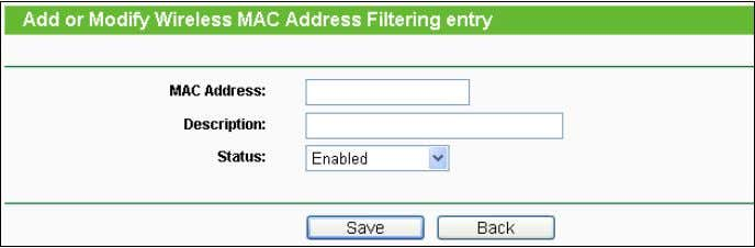 "entry"" page will appear as shown in Figure 4-23 : Figure 4-23 Add or Modify Wireless"