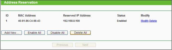 assigned to the servers that require permanent IP settings. Figure 4-29 Address Reservation  MAC Address