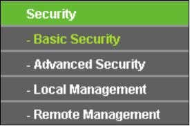 to update the Current UPnP Settings List. 4.9 Security Figure 4-38 The Security menu There are