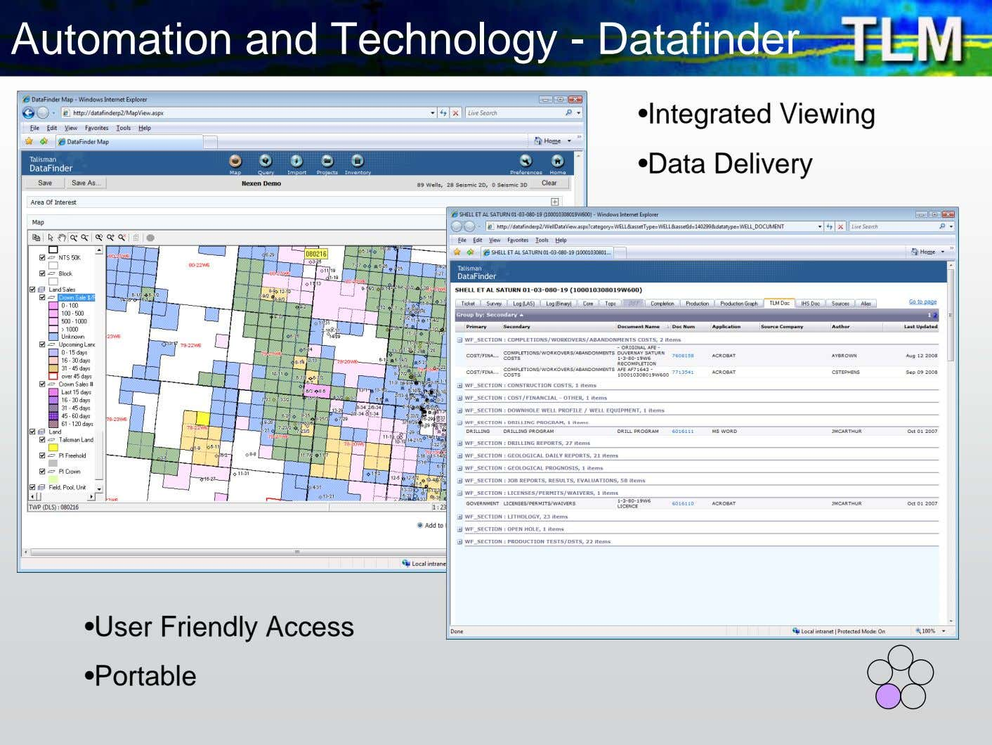 Automation and Technology - Datafinder •Integrated Viewing •Data Delivery •User Friendly Access •Portable