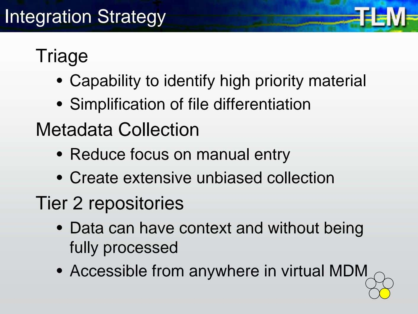 Integration Strategy Triage • Capability to identify high priority material • Simplification of file