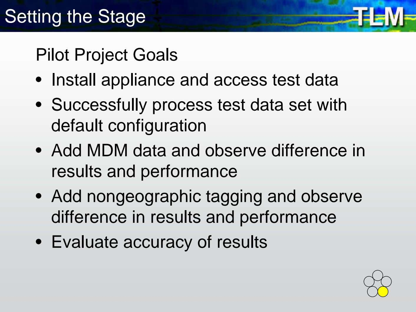 Setting the Stage Pilot Project Goals • Install appliance and access test data • Successfully
