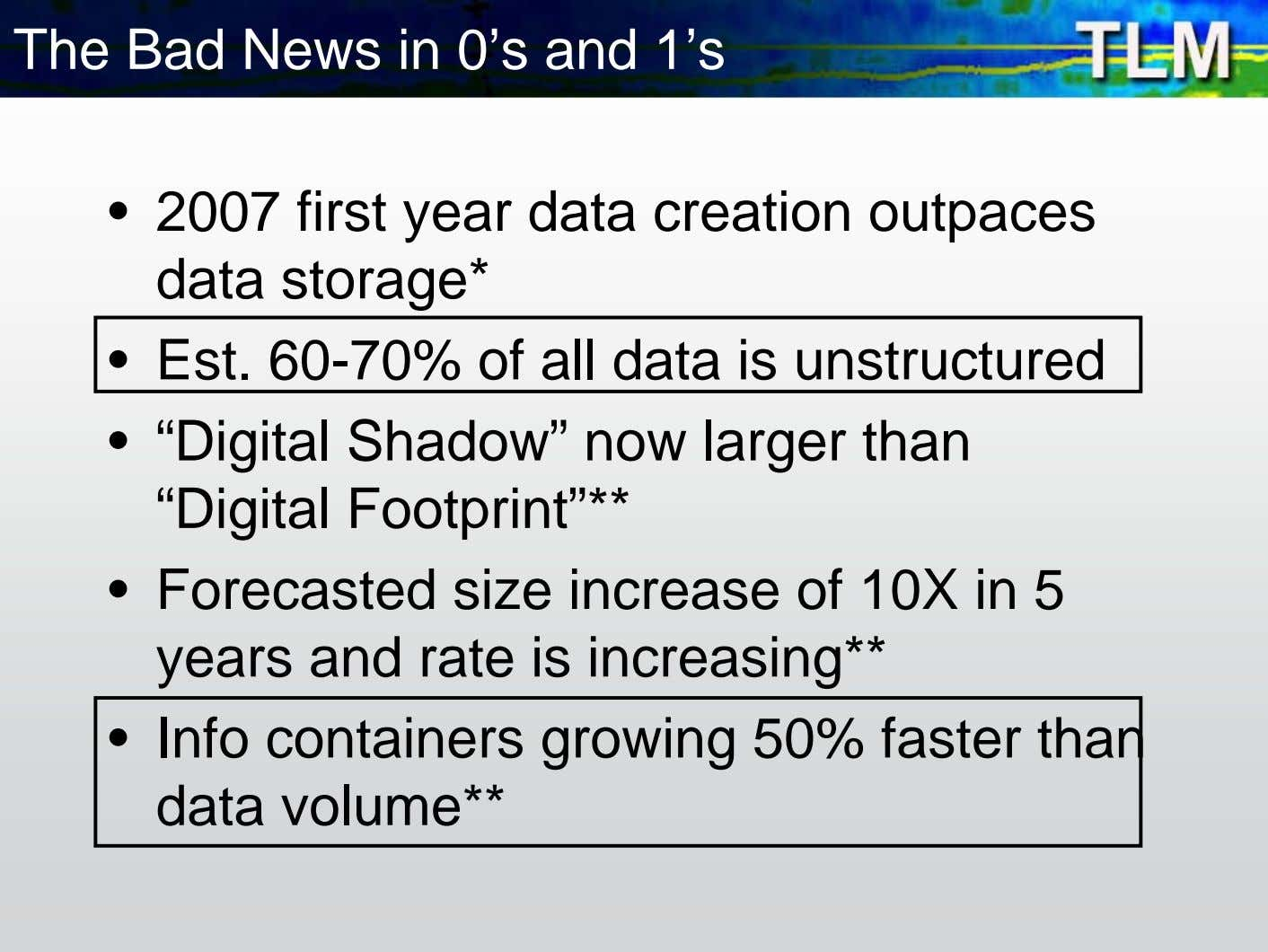 The Bad News in 0's and 1's • 2007 first year data creation outpaces data