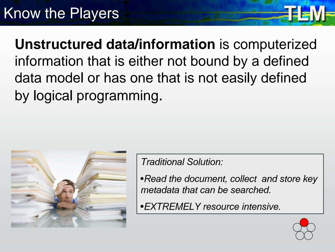 Know the Players Unstructured data/information is computerized information that is either not bound by a