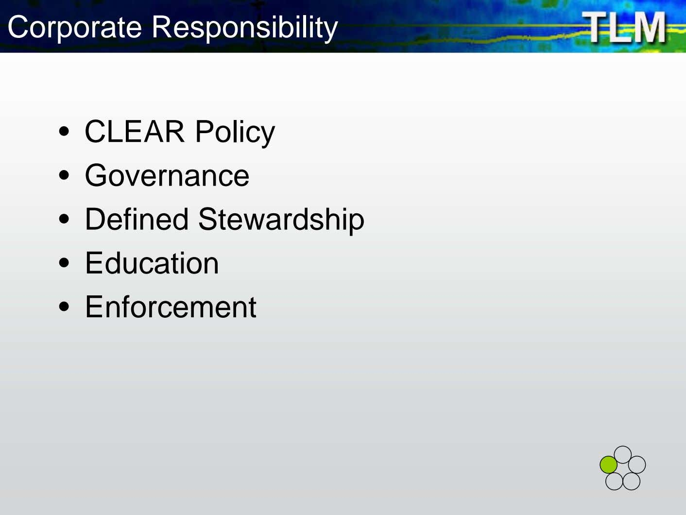 Corporate Responsibility • CLEAR Policy • Governance • Defined Stewardship • Education • Enforcement