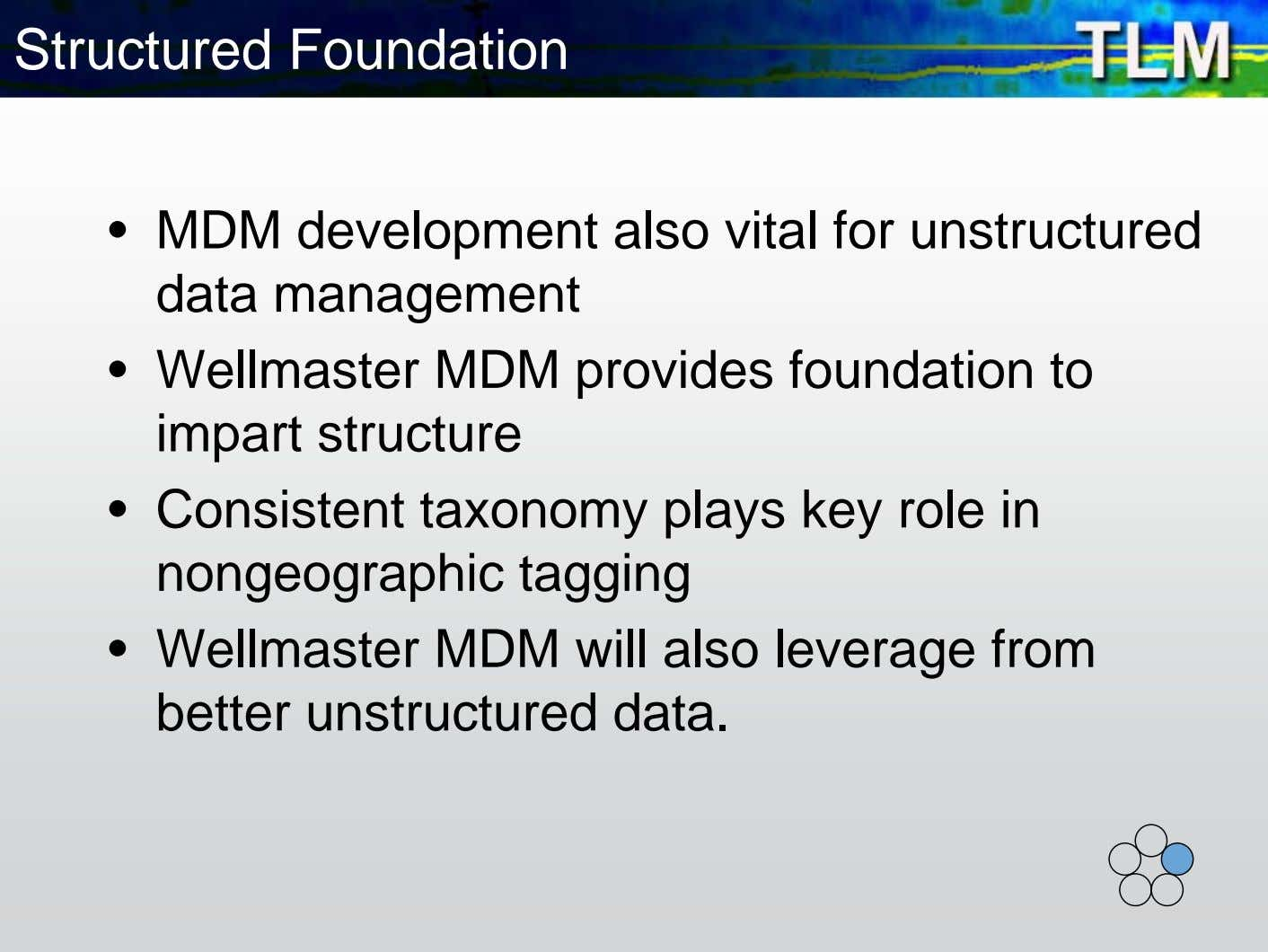 Structured Foundation • MDM development also vital for unstructured data management • Wellmaster MDM provides