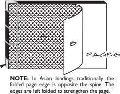 a b pages NOTE: In Asian bindings traditionally the folded page edge is opposite the