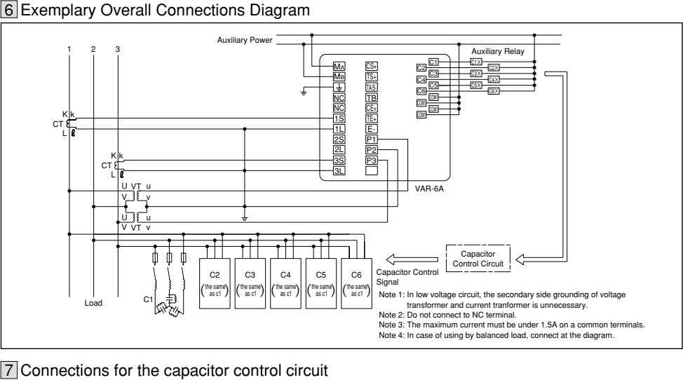 6 Exemplary Overall Connections Diagram Auxiliary Power 123 Auxiliary Relay C1 C1× MA CS+ C2