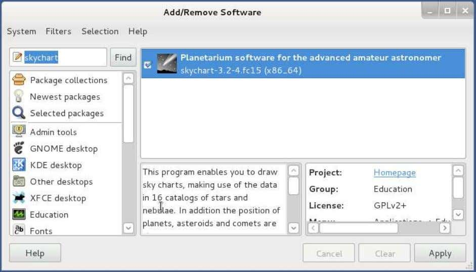 just search for skychart in the Add/Remove Software menu: To install from a command line terminal,