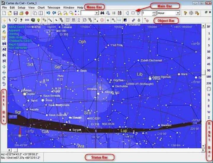 du Ciel-SkyChart , it will display something like this: Observation location and time With the Setup