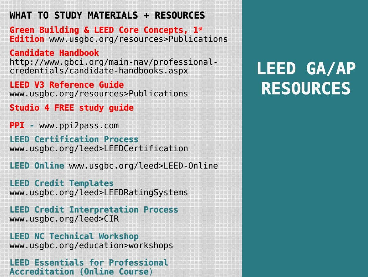 WHAT TO STUDY MATERIALS + RESOURCES Green Building & LEED Core Concepts, 1 st Edition