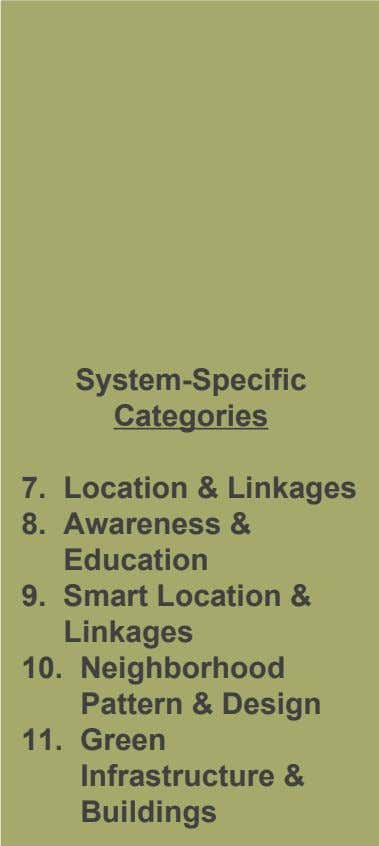 System-Specific Categories 7. Location & Linkages 8. Awareness & Education 9. Smart Location & Linkages