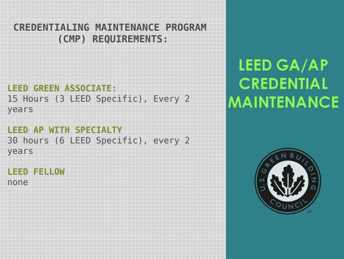 CREDENTIALING MAINTENANCE PROGRAM (CMP) REQUIREMENTS: LEED GREEN ASSOCIATE: 15 Hours (3 LEED Specific), Every 2