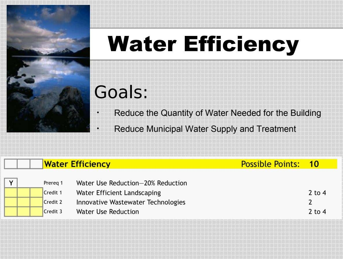 Water Efficiency Goals: • Reduce the Quantity of Water Needed for the Building • Reduce