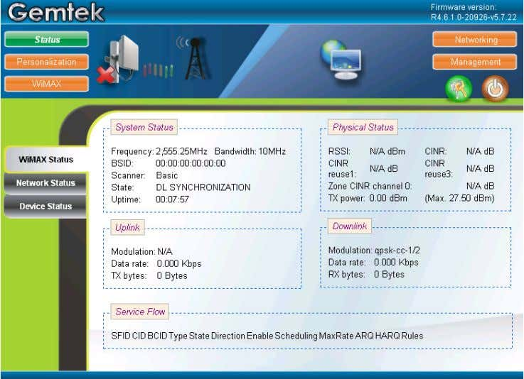 Figure 10 – Gemtek CPE Web Browser WiMAX Status To configure the device for the