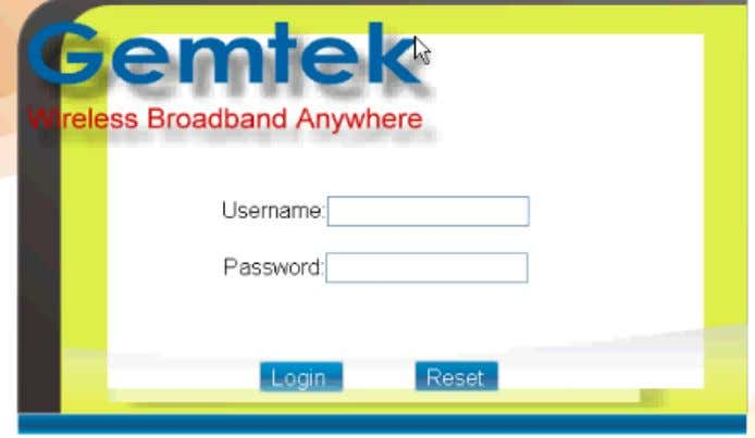 6) Figure 4 – Gemtek CPE Web Browser Login Screen Enter the default Userna me
