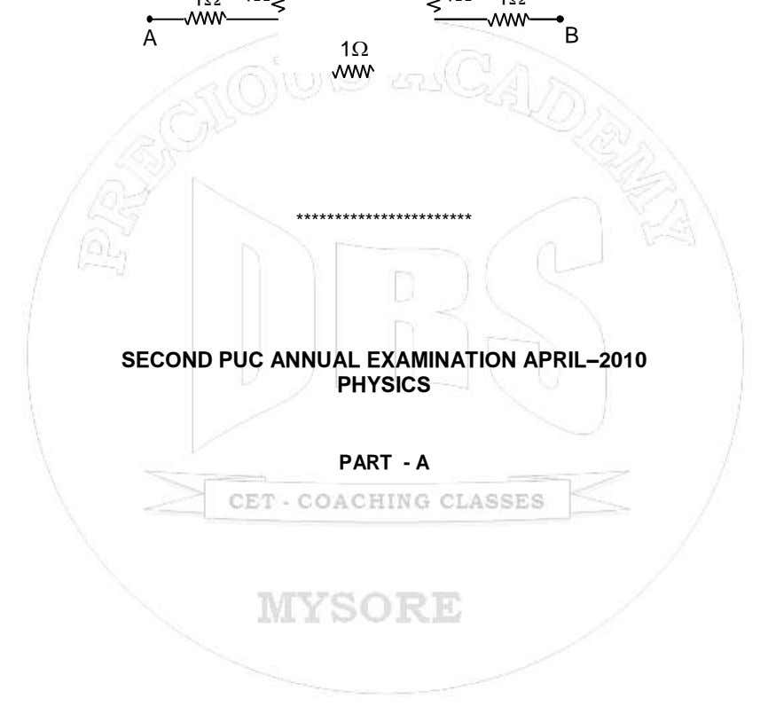 A B 1  *********************** SECOND PUC ANNUAL EXAMINATION APRIL–2010 PHYSICS PART - A