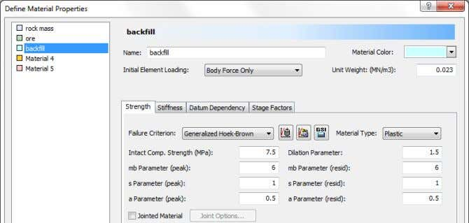 Under the Strength tab enter the following parameters: Under the Stiffness tab enter: RS2 v.9.0 Tutorial