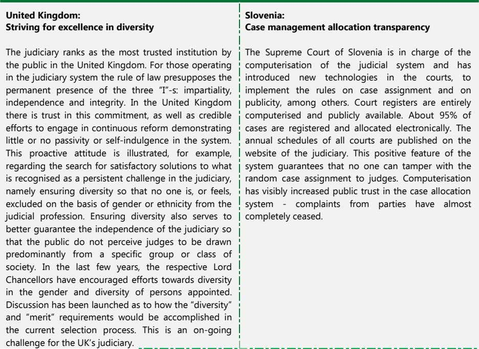 United Kingdom: Slovenia: Striving for excellence in diversity Case management allocation transparency The judiciary ranks as