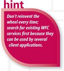 Don't reinvent the wheel every time; search for existing WFC services fi rst because they