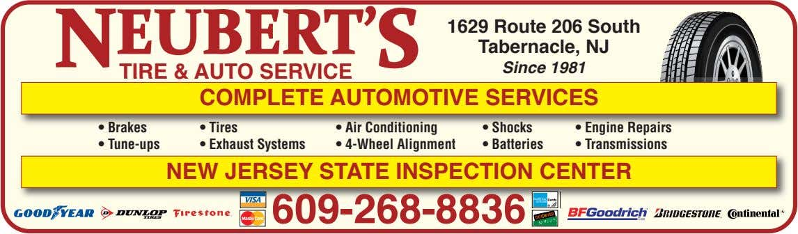• Brakes • Tires • Air Conditioning • Shocks • Engine Repairs • Tune-ups •