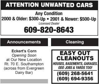 ATTENTION UNWANTED CARS Any Condition 2000 & Older: $300-Up • 2001 & Newer: $500-Up Licensed