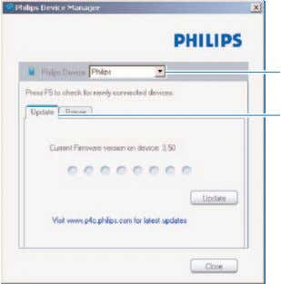 > Philips SA34XX Device Manager . 4 Click Update . 3 4 5 > Philips SA34XX