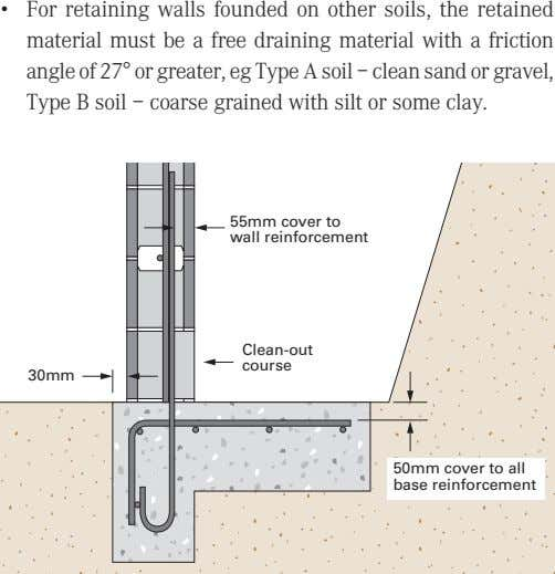 • For retaining walls founded on other soils, the retained material must be a free