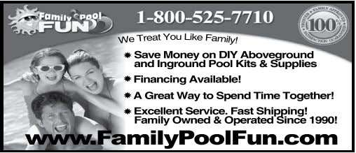 Save Money on DIY Aboveground and Inground Pool Kits & Supplies Financing Available! A Great