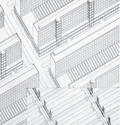 its ornament and individuality. He studied different solu- Fig. 4 Axonometric and plan showing the relation