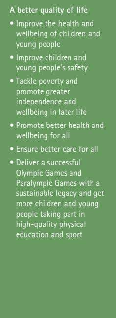 A better quality of life • Improve the health and wellbeing of children and young