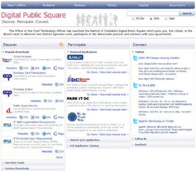 Highlights The Digital Public Square provides citizens with a single portal through which they can