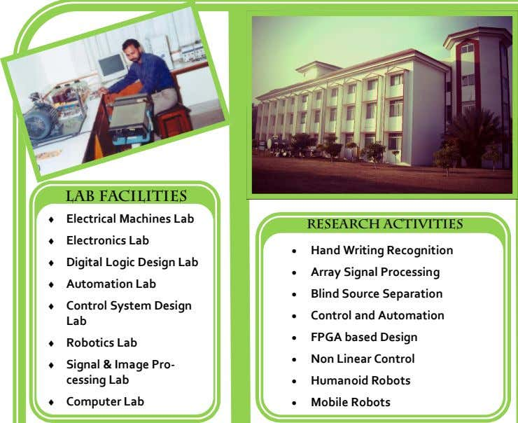 Lab Facilities  Electrical Machines Lab RESEARCH ACTIVITIES  Electronics Lab  Hand Writing Recognition