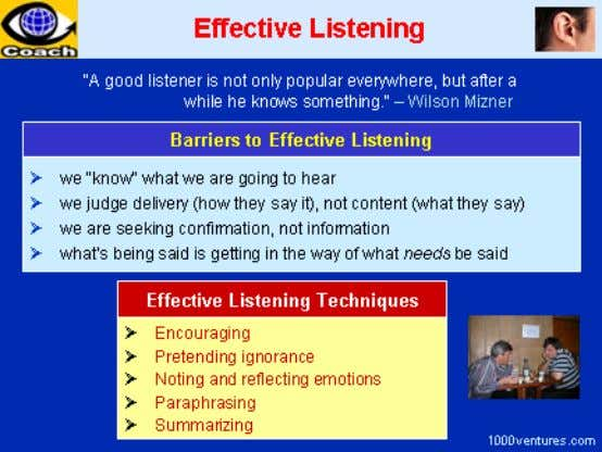 listening becomes an essential component. Many procedures are brought into play in the person-to-person contact
