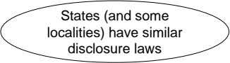 States (and some localities) have similar disclosure laws