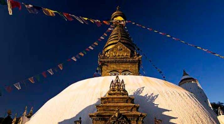a hill. • Stands on a low narrow plinth (base or podium) SWAYAMBHUNATH STUPA, Katmandu ARCHITECTURE