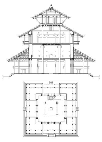 IN NEPAL Details of the frame and supporting wall Kasthamandapa,ground floor plan and section, Kathmandu