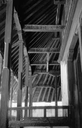 `` `` 14.3. FRAME AND WALL CONSTRUCTION Wood structure of the Kasthamandapa first roof ARCHITECTURE IN