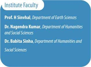 Institute Faculty Prof. H Sinvhal, Department of Earth Sciences Dr. Nagendra Kumar, Department of Humanities